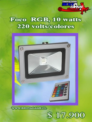 foco  rgb, 10 watts/220 volts/colores/incluye control remoto $ 17.900