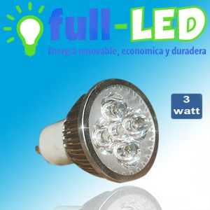 dicroico full-led /3 watt/ gu10/luz fria o calida/envios a todo chile